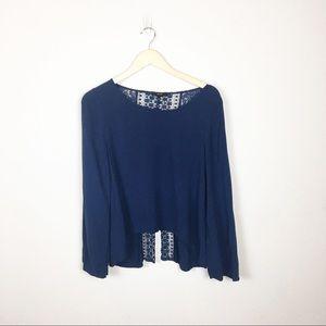 Anthropologie E (hanger) M Blue Lace Top